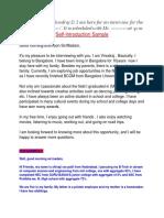 Self-introduction Sample