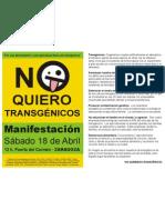 Convocatoria Manifestacion No Transgenicos Zaragoza 18abr09