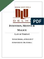 Mental Elements in Tort Law