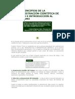 LOS PRINCIPIOS DE LA ADMINISTRACIÓN CIENTÍFICA DE TAYLOR E INTRODUCCIÓN AL FORDISMO