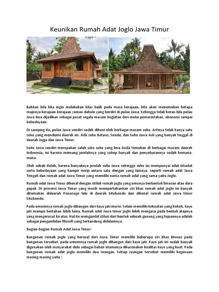 Keunikan Rumah Adat Joglo Jawa Timur