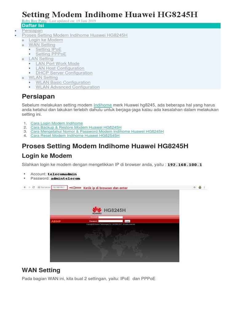 Setting Modem Indihome Huawei Hg8245h
