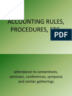 Accounting Rules, Procedures, Etc