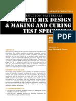 CE 121 LAB #4 Concrete Mix Design & Making and Curing Test Specimens