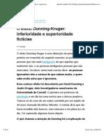 O Efeito Dunning-Kruger - Inferioridade e Superioridade Fictícias