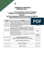 Calendario de Matrícula 2020-1
