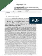 Teste 8º - Língua Portuguesa - Notícia e publicidade