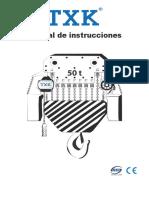 Manual Tecle Electrico de 50 Tn Cadena Txk