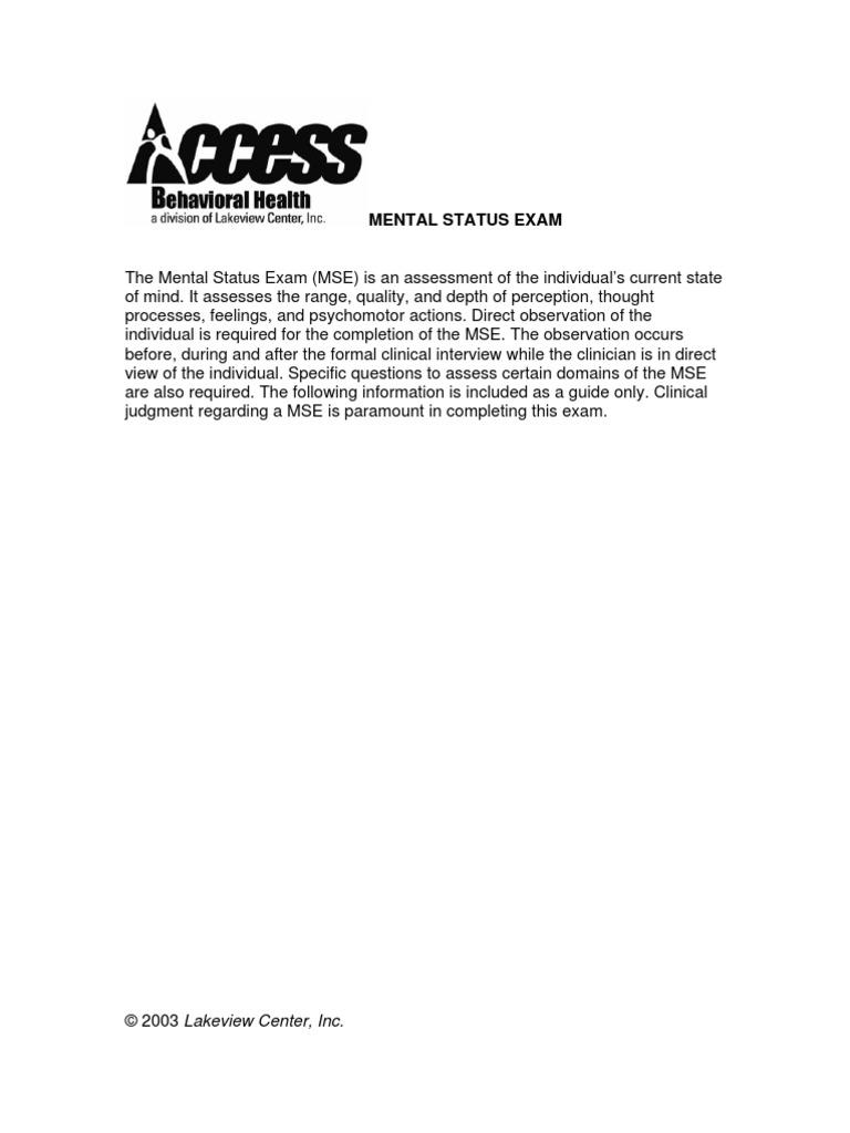 Mental Status Exam   Hallucination   Psychosis   Free 30 ...