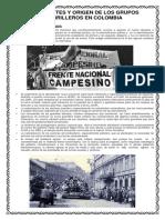 Antecedentes y Origen de Los Grupos Guerrilleros en Colombia