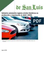 Industria automotriz registra niveles históricos en producción y exportación en abril_ AMIA - El Sol de San Luis