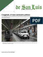 Congelado, el ramo automotriz poblano - El Sol de San Luis
