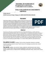 EDUCACIÓN ESPECIAL E INCLUSIÓN EN UN CONOCIMIENTO CIENTÍFICO