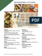 Menu de La Cuisine de Meme Moniq 5 Au 11 Octobre