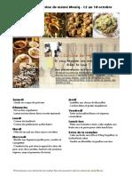 Menu de La Cuisine de Meme Moniq 12 Au 18 Octobre