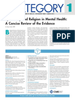 Spirituality and Religion in Mental Health- A Concise Review of the Evidence