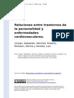 Urquijo, Sebastian, Sanchez, Roberto, (..) (2001). Relaciones entre trastornos de la personalida
