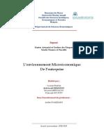 L'environnement Microéconomique de l'entreprise