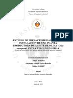 ESTUDIO de PREFACTIBILIDAD PARA LA Indtscion de Una Planta Productora de Aceite