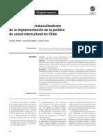 Facilitadores y obstaculizadores de la implementación de la política de salud intercultural en Chile. Pérez, Nazar y Cova 2016