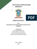 Economia y Crisis Politica de Bolivia