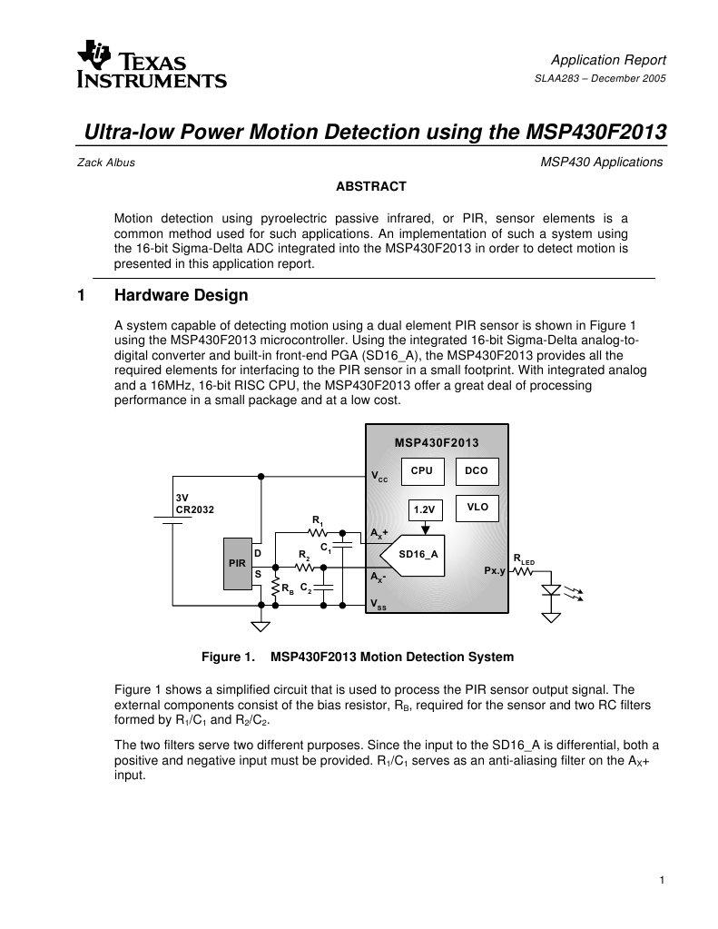 Slaa283 Analog To Digital Converter Electronic Filter Pir Motion Sensors Circuit Using Integrated Pyroelectric