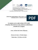 """""""La música en la radio oficial, 1973-1985. Prácticas discursivas en las emisoras radiofónicas estatales de Uruguay""""."""