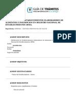 Habilitacion de Establecimientos Elaboradores de Alimentos e Inscripcion en Registro Nacional de Establecimientos (Rne).
