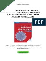 Cambridge Igcse Registered and o Level Additional Mathematics Practice Book Cambridge International Igcse by Muriel James