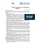 HIV Transmission in Health Care Setttings