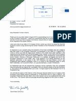Carta del president del Parlament Europeu, David Sassoli, al president del Parlament de Catalunya, Roger Torrent