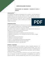 Especificaciones Tecnicas Graderías, Pistas y Veredas