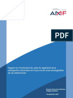 Rapport sur l'évaluation du cadre de régulation de la multigestion alternative en France et les voies envisageables de son amélioration