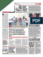 70% de Egresados de La Secundaria No Va a Universidades