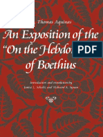Aquinas, An Exposition of the On the Hebdomads (De ebdomadibus) of Boethius