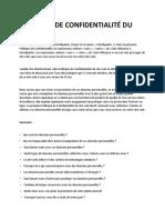 Politique de Confidentialité Du Site Web 228AllServices