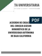 Gaceta 439-Edición Especial-Acuerdo de creación del Consejo Asesor Honorífico de la Universidad Autónoma de Baja California