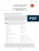 WS4 Operations With Algebraic Expressions