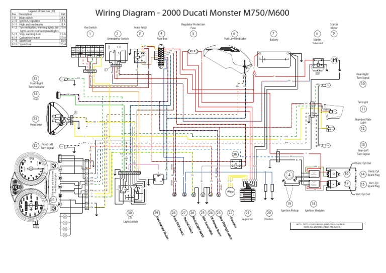 Wiring Document For 2000 Ducati Monster M750 M600 Ignition System Mechanical Engineering