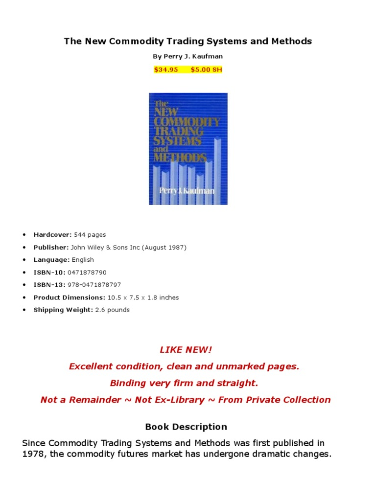 Perry Kaufman Trading Systems And Methods Pdf - College Learners