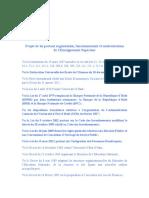 Projet de Loi Portant Organisation Fonctionnement Et Modernisation de l'Enseignement Supérieur