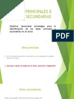 IDEAS PRINCIPALES E IDEAS SECUNDARIAS