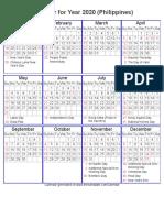 Year 2020 Calendar – Philippines