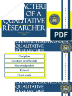 Characteristics of a Qualitative Researcher