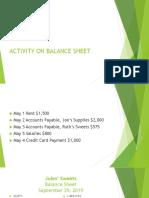 activity on balance sheet