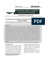 Formulation and Evaluation of Gabapentin Mucoadhesive Gastro Retentive Tablets.