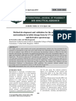 Method development and validation for the estimation of metronidazole in tablet dosage form by UV spectroscopy and derivative spectroscopy