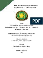 """""""EL CONTROL INTERNO EN LA GESTIÓN ADMINISTRATIVA DE LA EMPRESA POLLOS Y PARRILLAS EL MESÓN, LIMA-2016"""""""