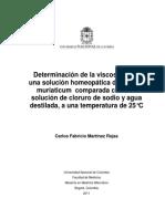 Determinación de la viscosidad de  una solución homeopática de Natrum  muriaticum comparada con una  solución de cloruro de sodio y agua  destilada, a una temperatura de 25°C