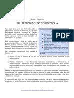 Decreto Ejecutivo prohibe el uso de Bisfenol. (Comunicado de prensa  del 6 de abril de 2010)